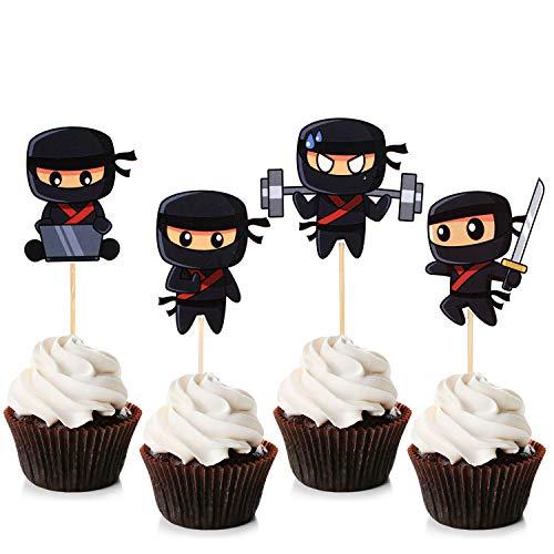 Unimall Ninja Cupcake Toppers Ninja Warrior Cake Picks für Kinder Ninja Thema Geburtstagsfeier Dekorationen Babyparty Kuchen Dekorationen 24 Stücke
