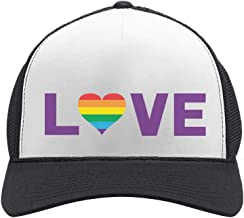 TeeStars - Gay Love - Rainbow Heart Gay & Lesbian Pride Trucker Hat Mesh Cap