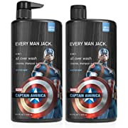 Every Man Jack All Over Wash - Marvel Captain America | 32-ounce Twin Pack - 2 Bottles Included | Naturally Derived, Parabens-free, Pthalate-free, Dye-free, and Certified Cruelty Free