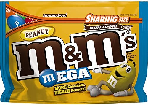 M M S Peanut Chocolate Mega Candy Sharing Size 9 6 Ounce Bag Pack of 8 product image