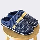 YWSZJ Zapatillas Casa Zapatos para Hombre Zapatillas de casa de Felpa para el hogar Zapatillas para Adultos Hombre Zapatos de Invierno Zapatillas de Piel (Color : Blue, Size : 41-42)