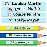 50 Mini Adesivi personalizzati per la marcatura di oggetti, matite, penne, etc. Misurata 4,2 x 0,5 CM. Blu pastello