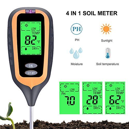 Best Buy! LKSDD Soil Tester,4 in 1 Digital Soil Moisture Meter PH Meter Temperature Sunlight Tester ...