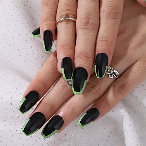 Foyte Black Fake Nails Short Coffin Press on Nails French Nails Glossy False Nails for Women and Girls 24PCS