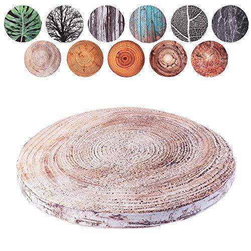 KADAX Stuhlkissen, rundes Sitzkissen, Ø 40 cm, Sitzauflage aus Schaumstoff, Stuhlauflage für Stuhl, Küche, Garten, Sitzpolster mit waschbarem Bezug, Gartenstuhlkissen (Birke)