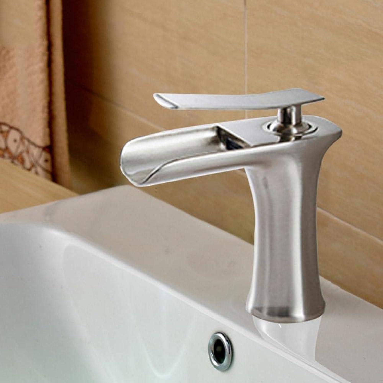 Lddpl Wasserhahn Waschtischarmaturen Wasserfall Bad Wasserhahn Einhebelmischer Bad Wasserhahn Messing Waschbecken Wasserkran Silber