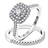 3UMeter 925 Sterling Silver Bridal Sets CZ Wedding Rings Shining Engagement Ring Set for Women Size 12