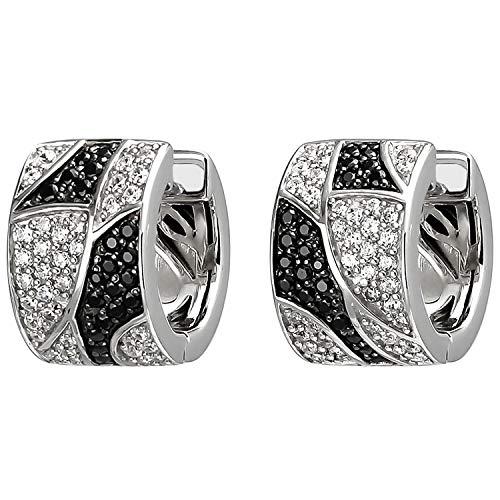 JOBO Damen-Creolen aus 925 Silber mit 114 Zirkonia schwarz und weiß
