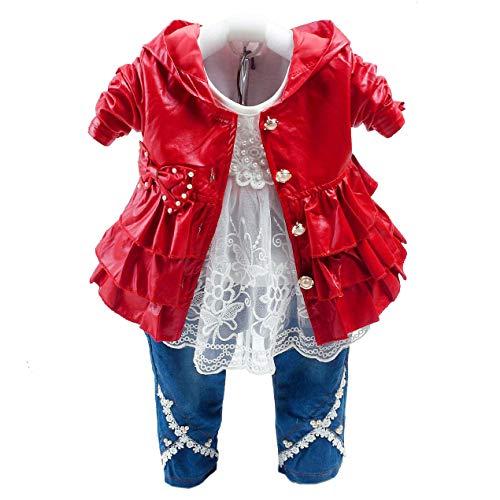 Primavera Otoño Conjunto de Ropa para niñas bebés 3 Piezas Camiseta de Manga Larga Chaqueta de Cuero Falbala y Jeans (1-2a, Rojo)