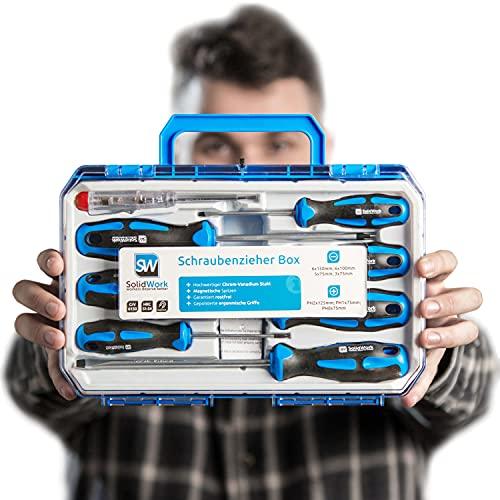 SolidWork juego destornilladores profesionales de 8 piezas en una robusta caja de herramientas - Destornilladores magnéticos de cromo vanadio de alta calidad que incluye comprobador de tensión