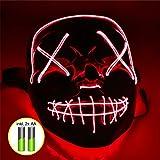 TK Gruppe Timo Klingler LED Grusel Maske rot - wie aus Purge inkl. Batterien mit 3X Lichteffekten,...