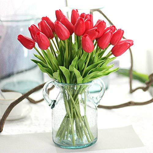 CQURE Unechte Blumen,Künstliche Deko Blumen Gefälschte Blumen Blumenstrauß Seide Tulpe Wirkliches Berührungsgefühlen, Braut Hochzeitsblumenstrauß für Haus Garten Party Blumenschmuck 10 Stück (Rot)