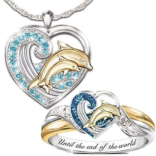 Yunobi Dolphin Ring and Necklace Set - Fashion Crystal Love Heart Necklace Ring Set Valentines Day Gift Christmas Jewelry Gift for Mom Women Wife Girls 2pcs/se