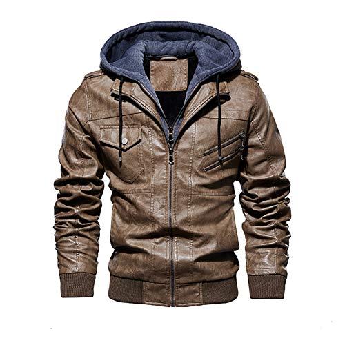 aiyu Chaqueta de piel sintética para hombre 2020, chaqueta bomber para hombre, invierno, cálida, de piel sintética con capucha desmontable, ropa exterior para hombre (color: DDT14 caqui, talla: 4XL)