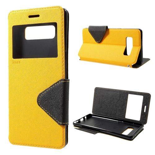 jbTec Flip Case Handy-Hülle passend für Samsung Galaxy Note 8 / SM-N950 - Fancy Diary Book ZWEIFARBIG - Handy-Tasche Schutz-Hülle Cover Handyhülle Ständer Bookstyle Booklet, Farbe:Gelb