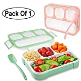 GETKO WITH DEVICE Leakproof 4 Compartment Plastic Kids Childrens Lunch Box with Removable