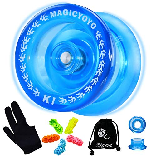 MAGICYOYO Responsive Yoyos K1-Plus for Kids Beginner, Plastic Yoyo with Yoyo Sack + 5 Yoyo Strings + Yo-Yo Glove+ Hubstack Gift( Crystal Blue)