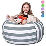 WEKAPO Stuffed Animal Storage Bean Bag Chair Cover for Kids | Stuffable Zipper Beanbag for Organizing Children Plush Toys | 38' Extra Large Premium Cotton Canvas
