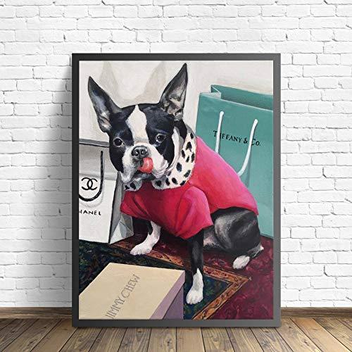 wZUN Carteles e Impresiones de Moda de Cachorros imágenes artísticas de Pared nórdicas de Moda para Sala de Estar decoración del hogar 60x90 Sin Marco