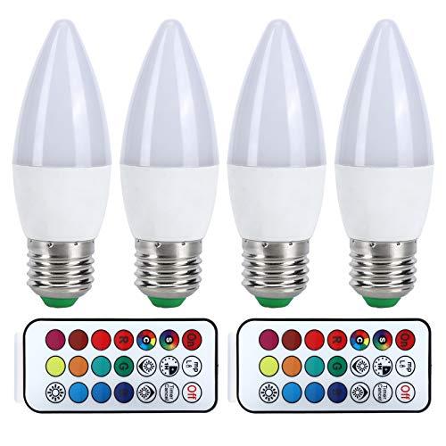 Bombilla de luz RGB 3W E12 / E14 / E27, Bombilla de vela que cambia de color 85-265V, Bombilla de candelabro con control remoto para decoración de iluminación del hogar(E27 Blanco puro 6000K)