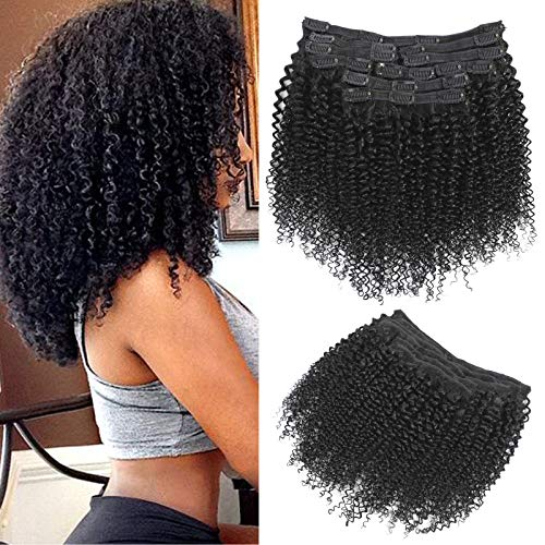 Rolisy Kinky Curly Clip in Hair Extensions Afro 3C 4A Kinky Curly Hair Clip Ins for Women Thick Soft 8A Brazilian Remy Hair,18 Inch,Black Color,10/Pcs with 24 Clips,120 Gram