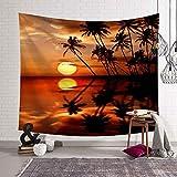 WERT Tropische Palme verlässt Wandteppich Wandbehang Meer Sonnenuntergang Landschaft Wandteppich Strand Hintergr& Stoff A3 130x150cm