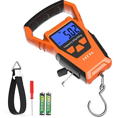 HEETA Waterproof Fish Scale Digital with Backlit LCD Display, 110lb/50kg Portable Hanging Scale Fishing Scale for Home and Outdoor, Measuring Tape and...