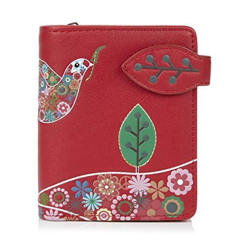 Shagwear Portemonnaie Geldbörse für junge Damen, Mädchen Geldbeutel Portmonaise Designs:, Friedenstaube Rot/ Peace Dove, Small