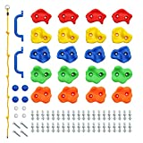 Rainbow Craft DIY Monkey Rock Climbing Holds for Kids - Wall Climbing Rocks of 20pc Rock Wall Holds, 2pc Handles & 1pc 8ft Knotted Climbing Rope - Kids Rock Climbing Holds Rock Wall Climbing Kit