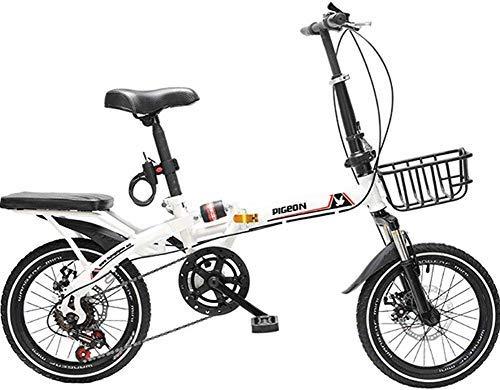 HAOT 20-Zoll-Klapprad für Männer und Frauen - Mountainbike mit Variabler Geschwindigkeit Erwachsene Offroad-Geschwindigkeit Männliche und weibliche Studenten Schnelles Fahrrad, Schwarz, 16 Zoll (