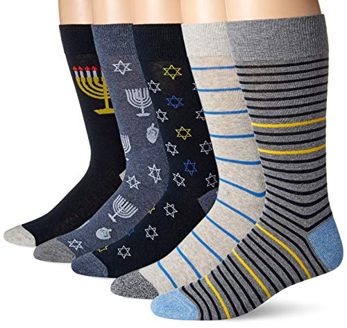Amazon Brand - Goodthreads Men's 5-Pack Patterned Socks, Hannukah, One Size