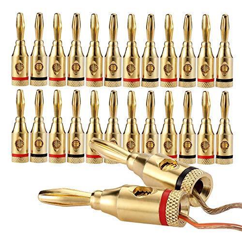 24K Gold Plated Speaker Banana Plugs – 12 Pairs/ 24 pcs – Open Screw...