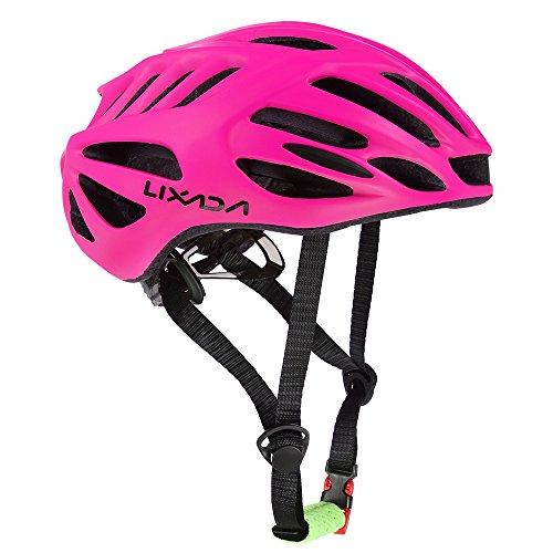 Lixada Mountainbike-Helm, 38 Belüftungsschlitze, verstellbar, bequem, leicht und atmungsaktiv, für Damen/Herren, rosarot