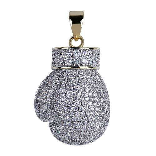 LILIMO Silber AAA Iced Out Kette Boxhandschuh-Anhänger-Halskette Kubikzircon Hip Hop Schmuck Edelstahl-Kette, Anhänger Für Männer
