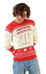 Image: Seinfeld Festivus for The Rest of Us Pole Adult Cream Ugly Christmas Sweater