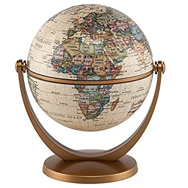 Waypoint Geographic GyroGlobe 4  Classic Oceans - UP-TO-DATE Compact Mini Globe Swivels in All Directions - Perfect for Small Spaces at Home, Office & Classroom