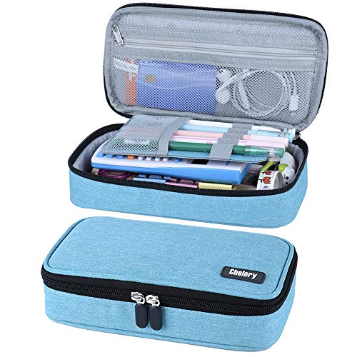 Pencil Case, Big Capacity Pencil Bag Pen Case Pouch Box Pencil Pen Marker Holder Desk Organizer Makeup Bag with Large Storage for Boys Girls College Students School & Office Supplies (Light Blue)