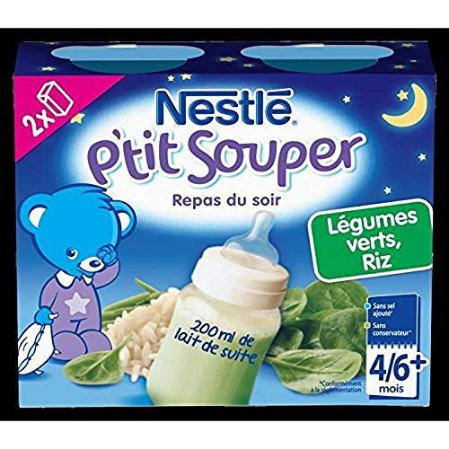 Nestlé Bébé P'tit Souper Lait Légumes Verts Riz - Soupe du soir dès 4/6 mois - 2 x 250ml