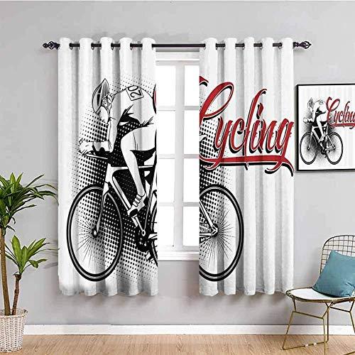 CLZLH Cortinas Habitacion Niño 3D Blanco Carreras Atleta Bicicleta Patrón Cortinas Opacas Termicas Aislantes Frío Y Calor Reduccion Ruido Proteccion Intimidad Para Hogar 2 Piezas 117X230Cm(An X Al)