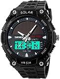 Fanmis Men's Solar Powered Casual Quartz Wrist Watch Analog Digital Multifunctional Black Sports Watch (Black)