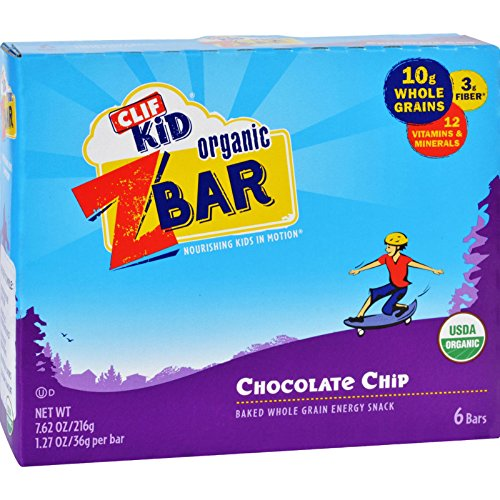 CLIF KID ZBAR - Organic Granola Bars - Chocolate Chip - (1.27 Ounce Energy Bars, Lunch Box Snacks, 6 Count)