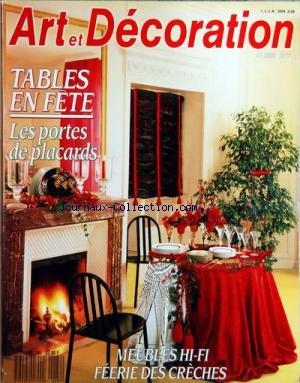 ART ET DECORATION [No 282] du 01/12/1989 - TABLES EN FETE - LES PORTES DE PLACARDS - MEUBLES HI-FI - FEERIE DES CRECHES