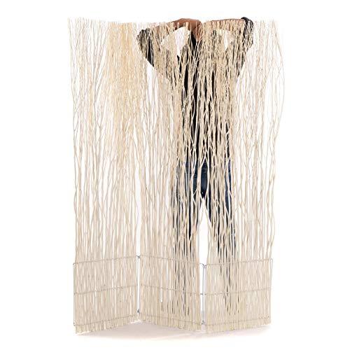 DESIGN DELIGHTS Weiden RAUMTEILER Nature 2 | 170x120 cm (HxB), Weidenholz, 3-teilig, geblichen | Äste Paravent, Wohnzimmer Raumtrenner, Holz Trennwand, Raum Sichtschutz