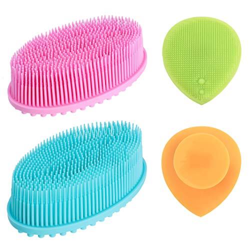 Cepillo Corporal de Silicona, 4 piezas Baño Suave Cepillo y Cepillo de Limpieza Facial, Exfoliante Cuerpo de Masaje para Cepillado Húmedo o Seco Piel Suave Mejorar