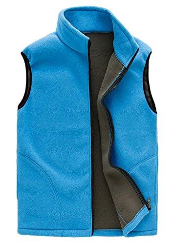 FEOYA Fleeceweste Damen Atmungsaktiv Fleece Outdoor Weste Softshellweste - Blau Größe L