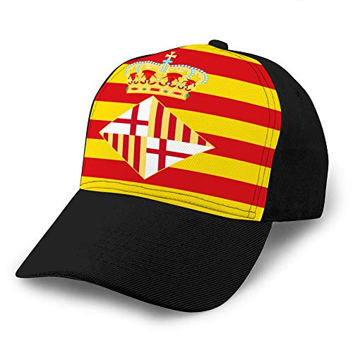 Women's Snap Back Ball Cap, Breathable, Adjustable Flag of Barcelona in Spain...