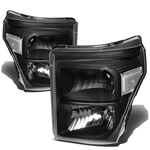 Pair of Black Housing Clear Corner Headlights Lamps Kit Replacement for Ford F-250 F-350 F-450 F-550 Super Duty 11-16