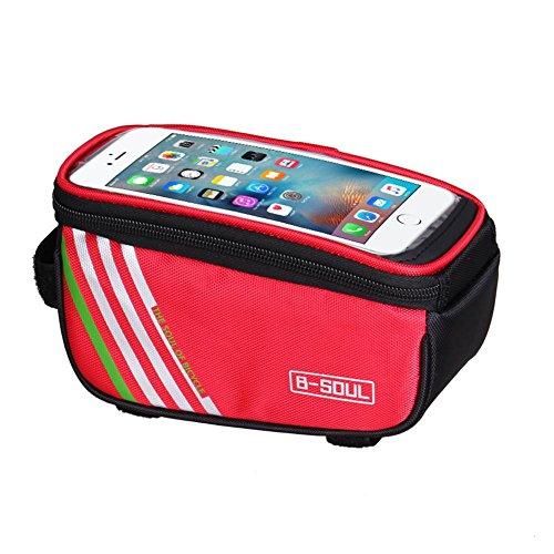 Bolsa para manillar de bicicleta, bolsa para cuadro de bicicleta, tubo delantero impermeable, color rojo, 5,0 pulgadas
