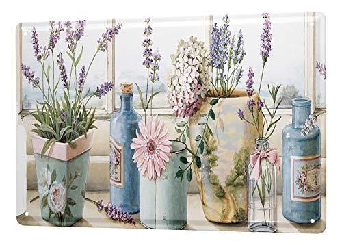 LEotiE SINCE 2004 Blechschild Wandschild 30x40 cm Vintage Retro Metallschild Flora Blumen Lavendel Flaschen Blumenfenster