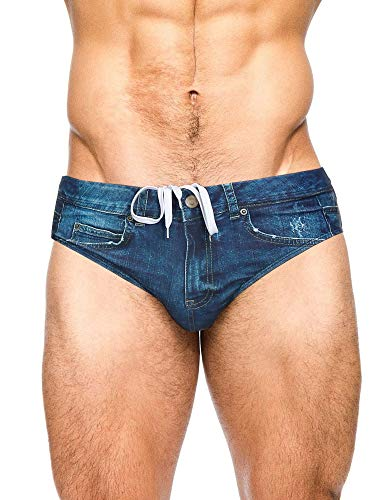 PJ PAUL JONES Men's Swim Trunks Denim Print Beach Swimsuit Bikini Briefs Navy Blue M